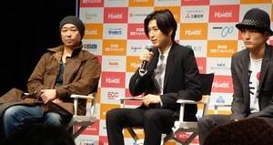 左:大森立嗣監督 中央:松田翔太氏 右: 高良健吾氏