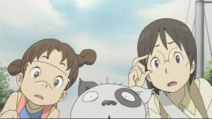 電脳コイル・ヤサコと妹の京子、デンスケ